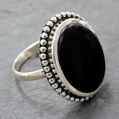 Women's Handcrafted Onyx Cocktail Ring from India - Mysterious Moon   NOVICA