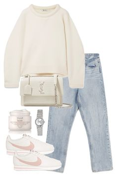 """""""Untitled #5114"""" by theeuropeancloset ❤ liked on Polyvore featuring Paige Denim, T By Alexander Wang, NIKE, Yves Saint Laurent, Fresh and Casio"""