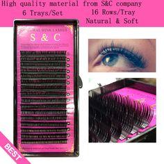 S & C 6 cas ensemble, de haute qualité vison extension de cils, cils individuels, nature cils.