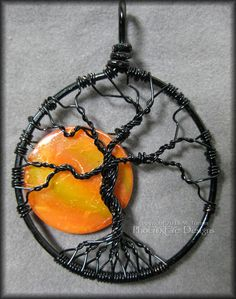 Under A Halloween Moon Tree of Life Pendant by PhoenixFireDesigns