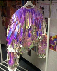 Pin by KK Girlz Style on Holographic trend looks in 2020 Diy Fashion, Ideias Fashion, Fashion Outfits, Fashion Design, Dress Fashion, Holographic Fashion, Recycled Dress, Festival Looks, Future Fashion