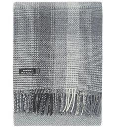 John Hanly Grey Tartan Merino Wool Throw