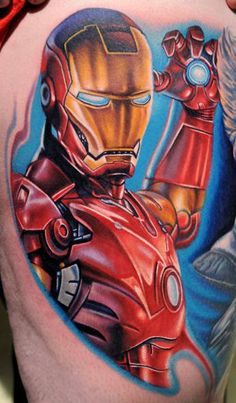 bdf16dfdc5bdc Robert Downey Jr. as Iron Man - by Kelvin Slack - Black Heart Tattoo Studio,  Epsom, UK. See more. This tattoo artist has wisely added a blue background  and ...