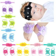 3pcs/set Girls Lace Hairband Barefoot Sandals Foot Band Flower Pearl Headband Set kids Hair Accessories #Affiliate