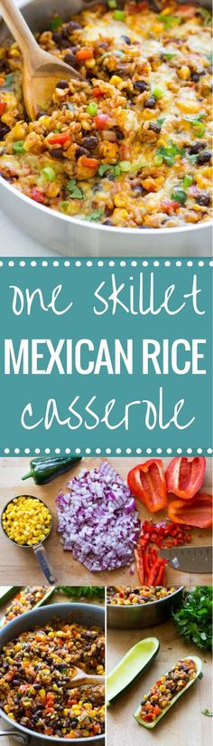 One Skillet Mexican Rice Casserole- an easy dinner recipe with almost zero clean up! (gluten free + vegetarian) One Skillet Mexican Rice Casserole- an easy dinner recipe with almost zero clean up! Veggie Recipes, Mexican Food Recipes, Cooking Recipes, Healthy Recipes, Dog Recipes, Beef Recipes, Budget Cooking, Recipies, Vegetarian Mexican Food