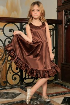 Chocolate Brown Charmeuse Fit Flare Party Princess Midi Dress - Girls