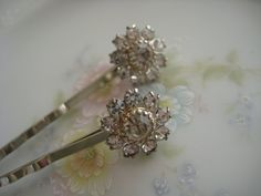 Repurposed vintage earrings into bobby pins