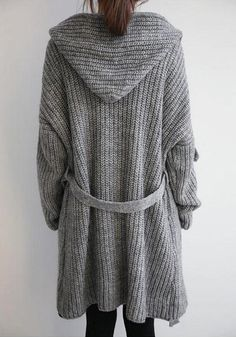 Grey Hooded Knit Cardigan - Outwears and Jackets Grey Sweater, Sweater Cardigan, Hooded Cardigan, Casual Chic, Plus Size Outfits, Sweaters For Women, Cute Outfits, Fashion Outfits, Knitting