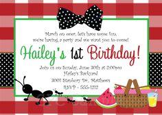 Ants on a Picnic Birthday Invitation Picnic Birthday Party