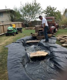 Must see this vintage truck water feature fountain and backyard cottage oasis. DIY and repurposed project that. Backyard Water Feature, Ponds Backyard, Backyard Stream, Backyard Waterfalls, Garden Ponds, Koi Ponds, Desert Backyard, Diy Water Feature, Backyard Ideas