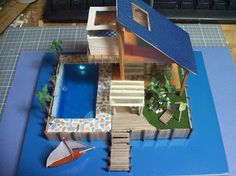 1:144 Scale Modern Beach House cool for school project diorama