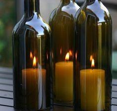 Portavelas Elaborados con Botellas de Vino