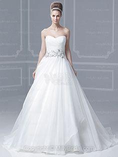 BallGown Sweetheart Organza Satin Sweep Train White Appliques Wedding Dresses at Millybridal.com
