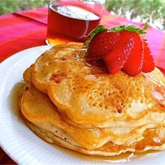 """Strawberry Vanilla Pancakes 