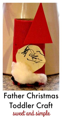 A super cute, child-made, easy Father Christmas craft for toddlers :: santa craft for toddlers :: toilet roll Father Christmas!
