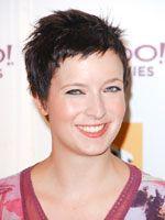 easy short hair with micro bangs in dark color