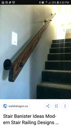 Home Bar Accessories Ideas Staircase Handrail, Stair Railing, Staircase Design, Bannister, Basement House, House Stairs, Basement Stairway, Stairs Handle, Redo Stairs