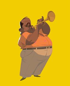 He plays the trumpet! #characterdesign #music #trumpet #illustration #character #animation #jazz #sketch #murfish