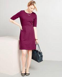 Elbow-Sleeve Ponte Knit Dress