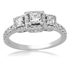 Ladies 3-Stone Diamond Anniversary Ring in 14k White Gold