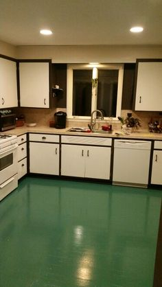 Just painted the floors in my Kitchen - Valspar color AUSSIE SURF