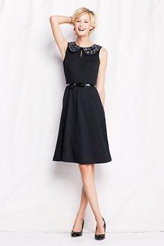 Women's Knit Drapey Ponté Embellished Collar Dress from Lands' End