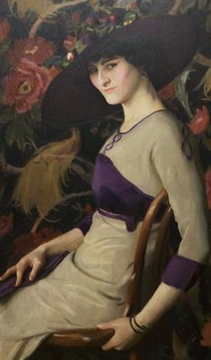 ▴ Artistic Accessories ▴ clothes, jewelry, hats in art - William McGregor Paxton - The Russian, 1913