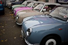 Nissan Figaro a small retro car manufactured by Nissan. The car was originally sold only in Japan. Despite this, the Nissan Figaro . My Dream Car, Dream Cars, Nissan Figaro, Figaro Car, Driving Miss Daisy, Import Cars, Japanese Cars, Vintage Japanese, Cute Cars