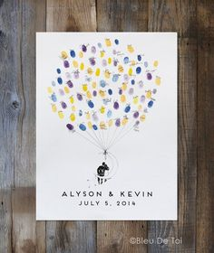 Summer Wedding Guest Book Ideas: Creative Pine Tree Guestbook, Guests Sign In Memorable Wedding Gift Moon Balloon, Thumbprint Tree, Balloons And More, Fingerprint Tree, Summer Wedding Guests, Wedding Guest Book Alternatives, Ink Pads, Hostess Gifts, Oeuvre D'art