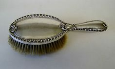 vintage edwardian silver hand hair brush chester h/m 1905 approx weight 205 gram