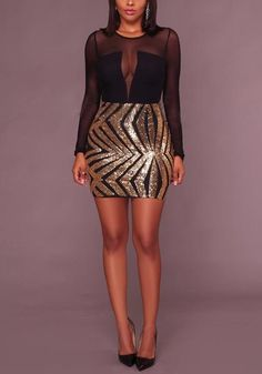 3fabfb4bfad25 Black And Gold Patchwork Grenadine Sequin Long Sleeve Bodycon Banquet Party  Mini Dress Fashion Wear