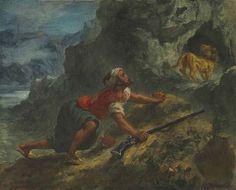 Artwork by Eugène Delacroix, Arab Stalking a Lion, Made of oil on canvas