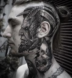 Face tattoo by Rob Borbas – Tattoos – Cozy Places Evil Tattoos, Head Tattoos, Badass Tattoos, Skull Tattoos, Body Art Tattoos, Sleeve Tattoos, Hals Tattoo Mann, Tattoo Hals, Tattoo Life