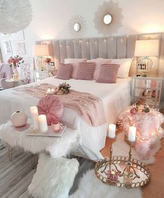 Cozy Home Decorating Ideas for Girls' Bedrooms - Decor Bedroom Decor For Teen Girls, Cute Bedroom Ideas, Girl Bedroom Designs, Room Ideas Bedroom, Home Decor Bedroom, Shabby Bedroom, Glam Bedroom, Shabby Cottage, Teen Room Designs