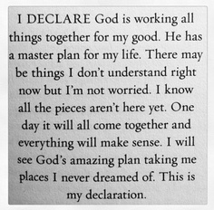 God has a master plan...
