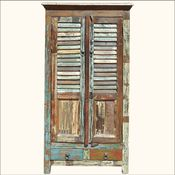 >Appalachian Rustic Reclaimed Wood Shutter Door Armoire Cabinet