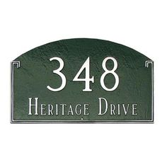 Montague Metal Products Estate Georgetown Address Plaque Finish: Navy / Gold, Mounting: Wall