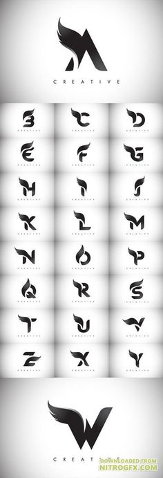 Vector Letter Wings Logos Design with Black Bird Fly Wing Icon - Vanessa Tabut . - Worldwomanandme - - Vector Letter Wings Logos Design with Black Bird Fly Wing Icon - Vanessa Tabut . Inspiration Logo Design, Icon Design, Design Ideas, Bird Design, Web Design, Wings Design, Black Bird Fly, Wings Icon, Schrift Design