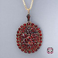 Antique Victorian Rose Garnet Necklace