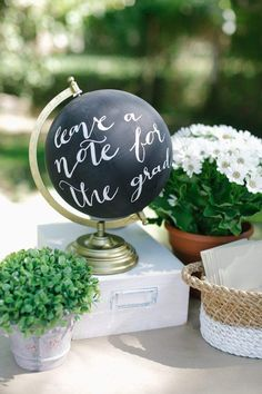 LOVE THIS chalk painted globe! Graduation Party! The World Is Your Market! By Panera Catering on Kara's Party Ideas KarasPartyIdeas.com #graduationparty