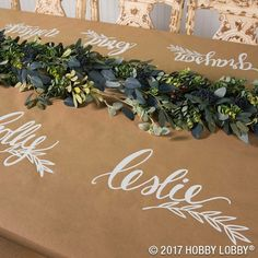 Vinyl thanksgiving place setting on tan butcher paper table wrap.