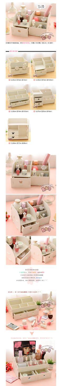 Escritorio en casa de madera DIY caja de almacenamiento para maquillaje…