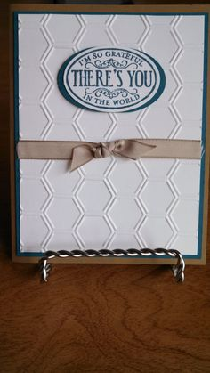 Father's Day Card/ Or Masculine card for any occasion: Cardstock - Baked Brown Sugar, Island Indigo and Whisper White Ink - Island Indigo Stamp Set - Chalk Talk Accessories - Honeycomb Embossing Folder, Large Oval Punch, and Crumb Cake Taffeta Ribbon