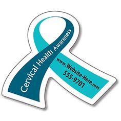 Cervical Cancer Awareness Magnet - Ribbon Shape (2.6875x2.25) - 25 Mil.