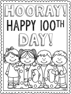 Free First Day School of Coloring Pages Pictures - Coloring Free Preschool Works. - Free First Day School of Coloring Pages Pictures – Coloring Free Preschool Worksheet – KD WORKS - 100th Day Of School Crafts, 100 Day Of School Project, First Day School, 100 Days Of School, School Holidays, Holidays Events, 100s Day, 100 Day Celebration, School Coloring Pages
