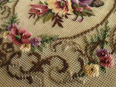 "23"" Vintage Art Beautiful Handmade Preworked Needlepoint Canvas 20K PETIT POINT | eBay"