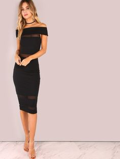 Shop Off Shoulder Mesh Panel Bodycon Dress BLACK online. SheIn offers Off  Shoulder Mesh Panel Bodycon Dress BLACK   more to fit your fashionable  needs. 5c7df302bde