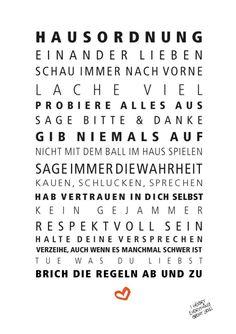 Originaldruck - Druck ♥Hausordnung♥ - ein Designerstück von Formart-Zeit-fuer-schoenes bei DaWanda
