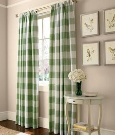 Linen Check Rod Pocket Curtains - A bold-scale buffalo check is timeless and fresh from Country Curtains!