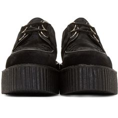 Underground Black Suede Wulfrun Creepers ($175) ❤ liked on Polyvore featuring shoes, kohl shoes, creeper shoes, underground shoes, black laced shoes and round toe shoes